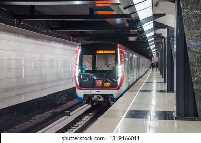 "MOSCOW, RUSSIA - February 1, 2019: The train arrives at the station ""Petrovsky Park"" on the Moscow Metro's Bolshaya Koltsevaya (Large Circle) Line"