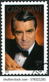 MOSCOW, RUSSIA - FEBRUARY 10, 2017: A stamp printed in USA shows Cary Grant born Archibald Alexander Leach (1904-1986), actor, 2002