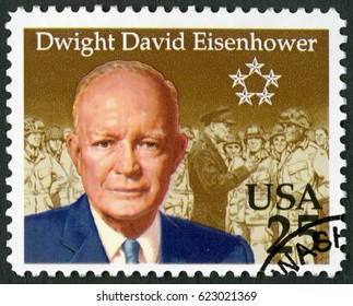 MOSCOW, RUSSIA - FEBRUARY 10, 2017: A stamp printed in USA shows Dwight David Eisenhower (1890-1969), 1990