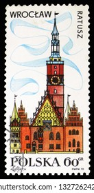 MOSCOW, RUSSIA - FEBRUARY 10, 2019: A stamp printed in Poland shows Townhall, Wroclaw, Tourist Publicity serie, circa 1970