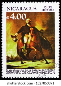 MOSCOW, RUSSIA - FEBRUARY 10, 2019: A stamp printed in Nicaragua shows Battle in Trenton, 250th Aniversary of George Washington serie, circa 1982