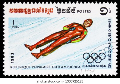 MOSCOW, RUSSIA - FEBRUARY 10, 2019: A stamp printed in Kampuchea (Cambodia) shows Luge, Winter Olympic Games 1984 - Sarajevo, Yugoslavia serie, circa 1983