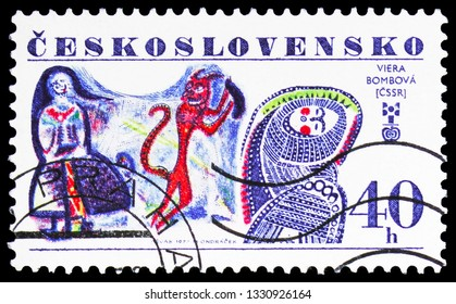 MOSCOW, RUSSIA - FEBRUARY 10, 2019: A stamp printed in Czechoslovakia shows Viera Bombova, Czechoslovakia, International Year of the Child serie, circa 1977