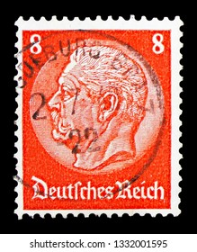 MOSCOW, RUSSIA - FEBRUARY 10, 2019: A stamp printed in Germany, Federal Republic, shows Paul von Hindenburg (1847-1934), 2nd President, Medalion serie, circa 1933