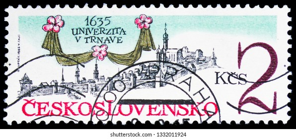 MOSCOW, RUSSIA - FEBRUARY 10, 2019: A stamp printed in Czechoslovakia devoted to 350th Anniversary of Trnava University, serie, circa 1985