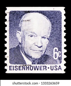 MOSCOW, RUSSIA - FEBRUARY 10, 2019: A stamp printed in United States shows Dwight David Eisenhower, 1970-1974 Regular Issue serie, circa 1970