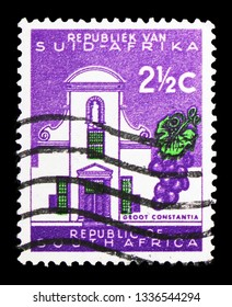 MOSCOW, RUSSIA - FEBRUARY 10, 2019: A stamp printed in South Africa shows Groot Constantia, Definitive Issue - Decimal Issue serie, circa 1961