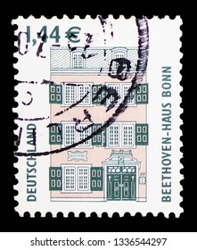 MOSCOW, RUSSIA - FEBRUARY 10, 2019: A stamp printed in Germany shows Beethoven House, Bonn, Sights serie, circa 2003