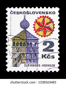 MOSCOW, RUSSIA - FEBRUARY 10, 2019: A stamp printed in Czechoslovakia shows Slovensko - Hronsek, Folk Architecture serie, circa 1979