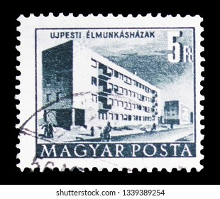 MOSCOW, RUSSIA - FEBRUARY 10, 2019: A stamp printed in Hungary shows Workers' Blockhouse, Buildings of the Five-Year-Plan in Budapest serie, circa 1958