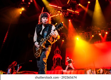 MOSCOW, RUSSIA - FEBRUARY 11, 2011: British heavy-metal band Iron Maiden performing live at Olimpiyskiy stadium in Moscow, Russia