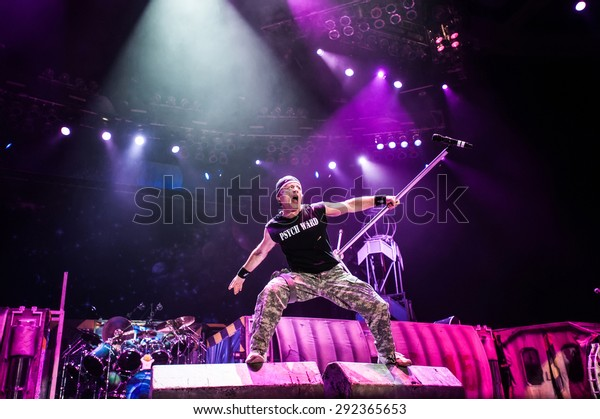 MOSCOW, RUSSIA - FEBRUARY 11, 2011: British heavy-metal band Iron Maiden performing live at 
