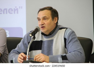 Moscow, Russia - February 11, 2012. Expert Andrei Buzin. Conference on the set of observers to the elections. Hotel Izmailovo