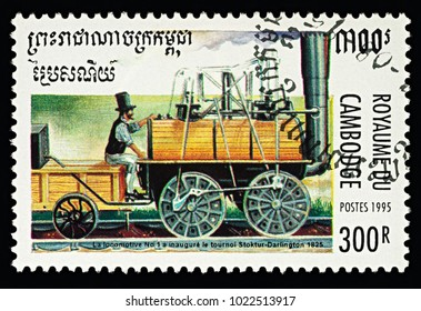 "Moscow, Russia - February 11, 2018: A stamp printed in Cambodia, shows George Stephenson's Locomotive N°1 ""Locomotion"" on the route Stockton-Darlington (1825), series ""Steam Locomotives"", circa 1995"
