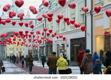 Moscow, Russia - February 11, 2018. Tretyakov Passage decorated with balloons in shape of hearts for Valentine Day