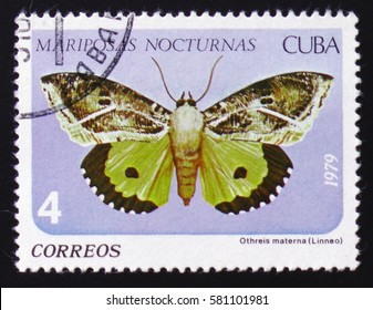 MOSCOW, RUSSIA - FEBRUARY 12, 2017: A Stamp printed in CUBA shows image of a Othreis materna Linneo butterfly (Mariposas nocturnas), circa 1979