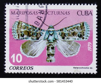 MOSCOW, RUSSIA - FEBRUARY 12, 2017: A stamp printed by Cuban Post is from series Mariposas Nocturnas (Night Moths) and shows Heterochroma sp., a moth of Noctuidae family, circa 1979