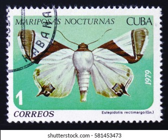 MOSCOW, RUSSIA - FEBRUARY 12, 2017: A stamp printed by Cuban Post is from series Mariposas Nocturnas (Night Moths) and shows Eulepidotis rectimargo (Gn.), a moth of Noctuidae family, circa 1979