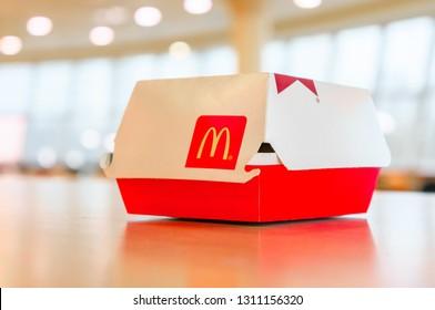Moscow, Russia, February 12 2019: Big Mac hamburger in McDonald