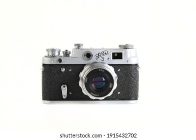 MOSCOW, RUSSIA, FEBRUARY 12, 2021. The Very rare old Soviet 35 mm film rangefinder camera FED-3, released 1961 on white background.
