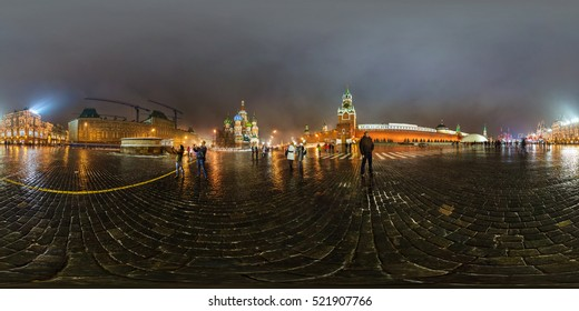 MOSCOW, RUSSIA - February 13, 2013: Full 360 degree equidistant equirectangular spherical panorama in Red Square about Kremlin in the night, seamless panorama