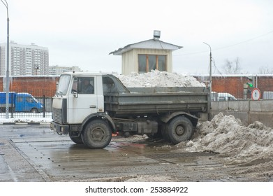 MOSCOW, RUSSIA - February 13, 2015: Dump truck MAZ about negotable on snow-melting point, Moscow