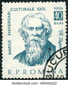 MOSCOW, RUSSIA - FEBRUARY 13, 2016: A stamp printed in Romania shows Rabindranath Tagore (1861-1941), Indian poet, series Portraits, 1961