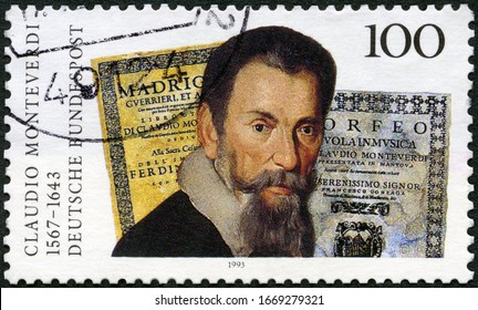MOSCOW, RUSSIA - FEBRUARY 13, 2020: A stamp printed in Germany shows Claudio Giovanni Antonio Monteverdi (1567-1643), astronomer, 1993