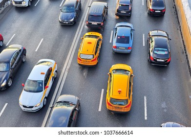 MOSCOW, RUSSIA - FEBRUARY 13: Cars in the highway, city center of Moscow on February 13, 2018.