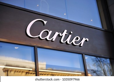 MOSCOW, RUSSIA - FEBRUARY 13: Logo of Cartier flagship store in Moscow on February 13, 2018.