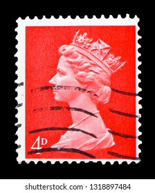 MOSCOW, RUSSIA - FEBRUARY 14, 2019: A stamp printed in United Kingdom shows Queen Elizabeth II - Decimal Machin serie, circa 1969