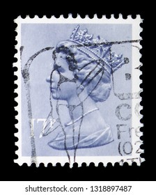 MOSCOW, RUSSIA - FEBRUARY 14, 2019: A stamp printed in United Kingdom shows Queen Elizabeth II - Decimal Machin serie, circa 1983