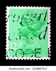 MOSCOW, RUSSIA - FEBRUARY 14, 2019: A stamp printed in United Kingdom shows Queen Elizabeth II - Decimal Machin serie, circa 1982