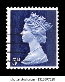 MOSCOW, RUSSIA - FEBRUARY 14, 2019: A stamp printed in United Kingdom shows Queen Elizabeth II - Decimal Machin serie, circa 1968