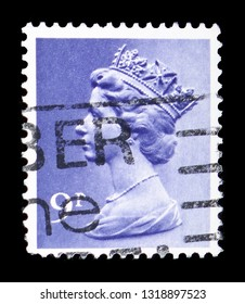 MOSCOW, RUSSIA - FEBRUARY 14, 2019: A stamp printed in United Kingdom shows Queen Elizabeth II - Decimal Machin serie, circa 1976