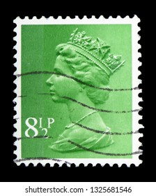 MOSCOW, RUSSIA - FEBRUARY 14, 2019: A stamp printed in United Kingdom shows Queen Elizabeth II - Decimal Machin serie, circa 1975