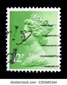 MOSCOW, RUSSIA - FEBRUARY 14, 2019: A stamp printed in United Kingdom shows Queen Elizabeth II - Decimal Machin serie, circa 1980