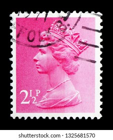 MOSCOW, RUSSIA - FEBRUARY 14, 2019: A stamp printed in United Kingdom shows Queen Elizabeth II - Decimal Machin serie, circa 1971