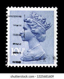 MOSCOW, RUSSIA - FEBRUARY 14, 2019: A stamp printed in United Kingdom shows Queen Elizabeth II - Decimal Machin serie, circa 1978