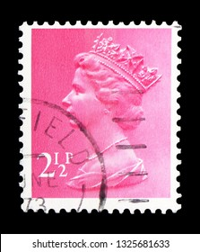 MOSCOW, RUSSIA - FEBRUARY 14, 2019: A stamp printed in United Kingdom shows Queen Elizabeth II - Decimal Machin serie, circa 1972
