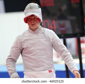 MOSCOW, RUSSIA - FEBRUARY 14: Russia's Nikolay Kovalev compete at the 2010 RFF Moscow Saber World Fencing Tournament, February 14, 2010 in Moscow, Russia.