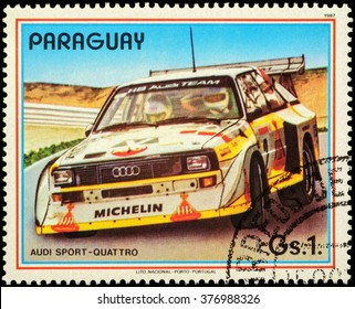"""MOSCOW, RUSSIA - FEBRUARY 15, 2016: A stamp printed in Paraguay shows rally car Audi Sport quattro, series """"Rally Cars"""", circa 1987"""