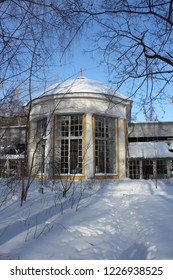 MOSCOW / RUSSIA - FEBRUARY 15 2017: Abandoned greenhouse in the old Pokrovskoe-Streshnevo estate in the  Moscow park