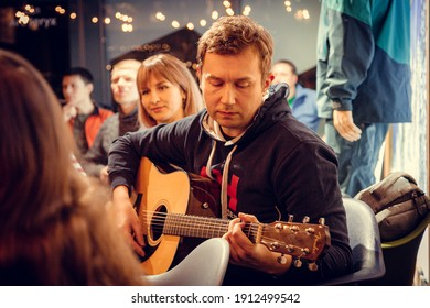 Moscow, Russia, February 15, 2020: meeting of guitar music lovers