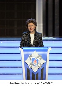 """MOSCOW, RUSSIA - FEBRUARY 17, 2017:Deputy Chairman Of The Federation Council Of The Federal Assembly Of The Russian Federation Galina Karelova at the ceremony of awarding the winners of """"Hot heart"""""""