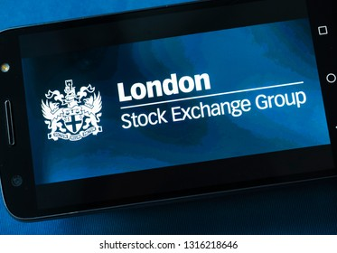 MOSCOW, RUSSIA - FEBRUARY 17, 2019: London stock exchange group logo on the smartphone monitor