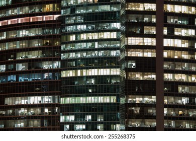 MOSCOW, RUSSIA - FEBRUARY 18, 2015: People work in the office buildings in Moscow city district, Moscow, February 18, 2015.