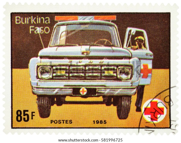 "MOSCOW, RUSSIA - February 18, 2017: A stamp printed in Burkina Faso (Upper Volta) shows ambulance car, series ""Red Cross"", circa 1985"