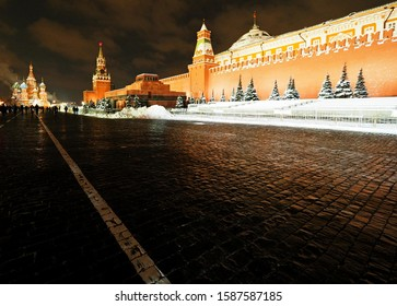 Moscow, Russia - February 18, 2018:  Red Square in Winter Evening.