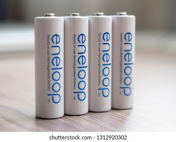 Moscow, Russia - February 19, 2019: Japan made Panasonic Eneloop ready to use rechargeable batteries close-up